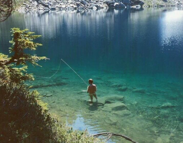 Nude Fishing at Buff Lake ~ Glacier Peak Wilderness ~
